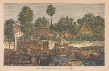 "Bacon: Ayutthaya. 1892. A hand coloured original antique wood engraving. 6"" x 4"". [SEASp1765]"