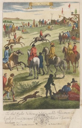Banned under Cromwell, racing became popular again with the return of Charles II. From Blome's important work on gentlemen's pursuits.