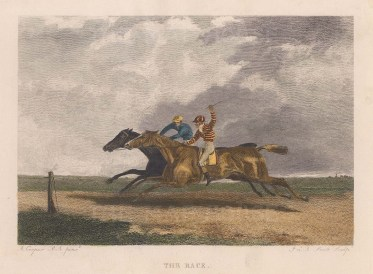 """Cooper: The Race. 1840. A hand coloured original antique steel engraving. 6"""" x 5"""". [SPORTSp2660]"""