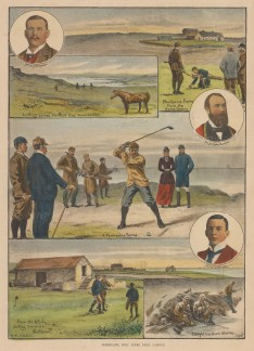 "ISDN: Golf. 1892. A hand coloured original antique wood engraving. 10"" x 14"". [SPORTSp2967]"