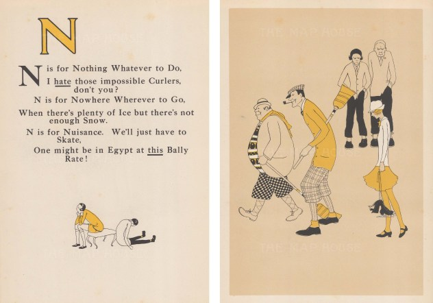 N is for Nothing to do. Rhyme, and cross, skiers with happy curlers and skater. Double window mounted.