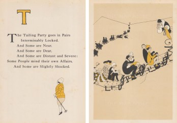 T is for Tailing Party. Rhyme, and skiers on sledges. Double window mounted.