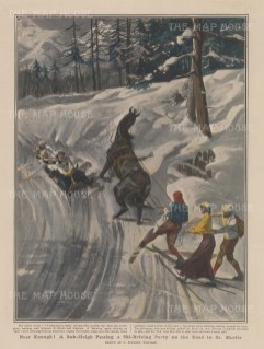 A bob-sleigh passing a ski-driving party on the road to St Moritz.