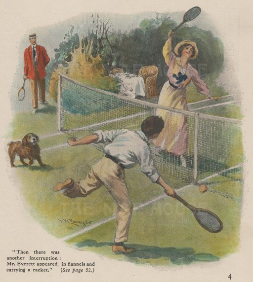 "Anonymous: Tennis. c1925. A hand coloured original vintage photo-lithograph. 5"" x 6"". [SPORTSp3298]"