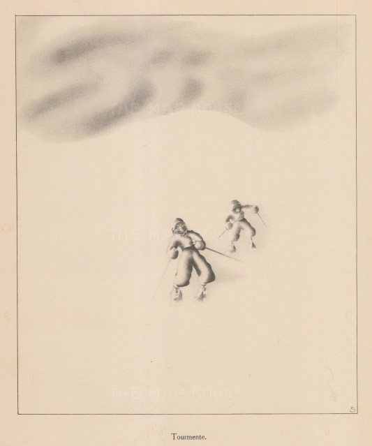Cross-country skiers in turmoil in a white out.