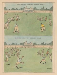 "Bateman: Cricket. c1930. A hand coloured original antique lithograph. 7"" x 10"". [SPORTSp3455]"