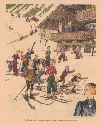 """Punch: Skiing. 1938. A hand coloured original vintage wood engraving. 7"""" x 10"""". [SPORTSp3508]"""
