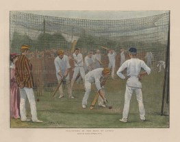 """Illustrated London News: Lord's. 1894. A hand coloured original antique wood engraving. 14"""" x 8"""". [SPORTSp3522]"""
