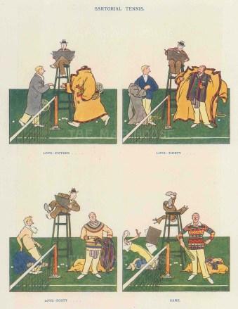 "Punch: Tennis. 1934. An original vintage chromolithograph. 6"" x 10"". [SPORTSp3526]"