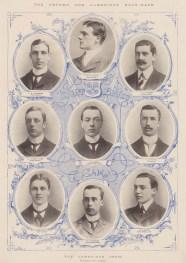 Light Blues. Black & white portraits of the Cambridge Crew with decorative light blue detail.