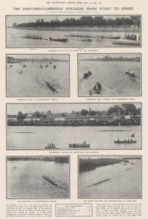 Six views from start to finish of Cambridge's victory with times and distances.