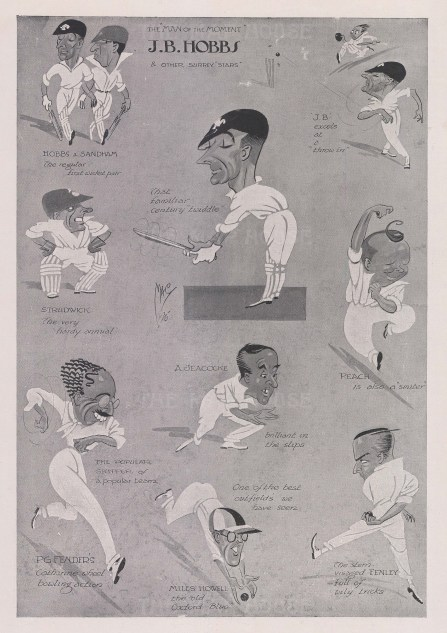 """Caricatures by MAC of JB. Hobbs, """"The Man of the Moment"""", and other Surrey players."""