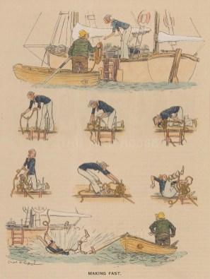 "Punch: Sailing. 1931. A hand coloured original vintage wood engraving. 6"" x 10"". [SPORTSp3569]"