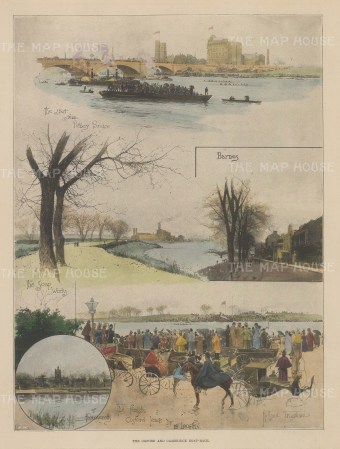 Four views. Putney, Barnes and Mortlake with inset off Thornycroft.