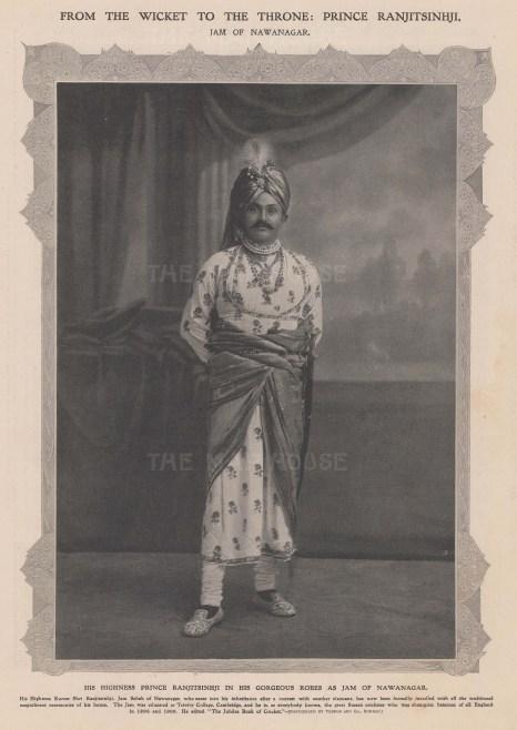 HH Prince Ranjitsinhji in the robes of the Jam of Nawanagar. Champion Cricketeer.