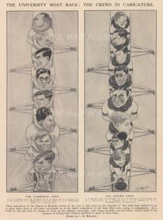 "Punch: University Boat Race. 1925. An original black & white vintage photo-lithograph. 7"" x 9"". [SPORTSp3633]"