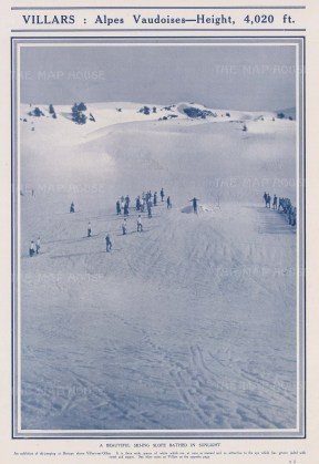 Skiing: Villars 4020ft. Alpes Vadoises. Ski jumping at Bertaye above Villars sur Olon.