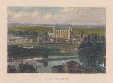 "Tallis: Eton College. 1851. A hand coloured original antique steel engraving. 4"" x 3"". [ENGp182]"