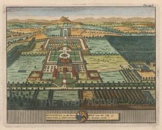 "van der Aa: Eaton Hall, Cheshire. 1727. A hand coloured original antique copper engraving. 7"" x 5"". [ENGp21]"