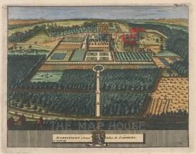 "van der Aa: Maddingley, Cambridgeshire. 1727. A hand coloured original antique copper engraving. 7"" x 6"". [ENGp25]"