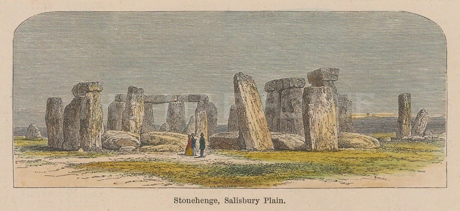 """Picturesque Europe: Stonehenge, Wiltshire. 1875. A hand coloured original antique wood engraving. 3"""" x 2"""". [ENGp315]"""
