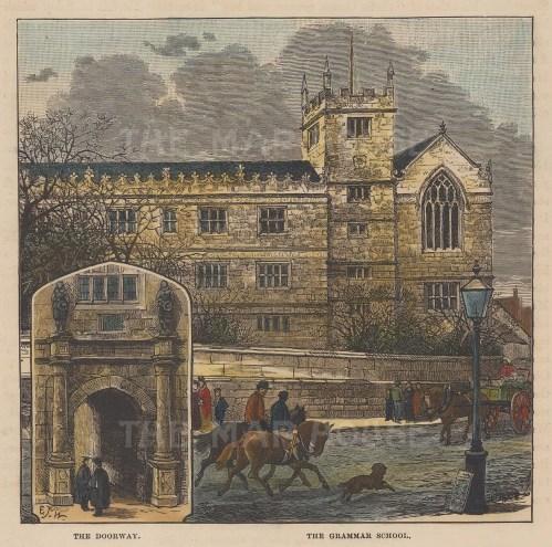 The Grammar school with inset of doorway.