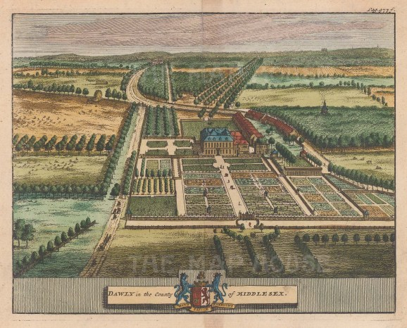 """van der Aa: Dawly House, Middlesex. 1727. A hand coloured original antique copper engraving. 6"""" x 5"""". [ENGp31]"""