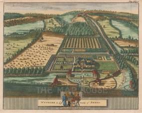 "van der Aa: Wythame, Berkshire. 1727. A hand coloured original antique copper engraving. 6"" x 5"". [ENGp32]"