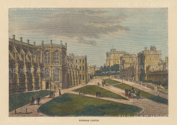 "Reclus: Windsor Castel, Berkshire. 1894. A hand coloured original antique steel engraving. 8"" x 6"". [ENGp332]"