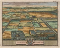 "van der Aa: Houghton, Nottinghamshire. 1727. A hand coloured original antique copper engraving. 7"" x 5"". [ENGp36]"