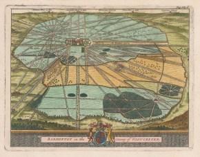 "van der Aa: Badminton, Gloucestershire. 1727. A hand coloured original antique copper engraving. 7"" x 5"". [ENGp48]"
