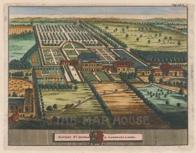 "van der Aa: Hatley St George, Cambridgeshire. 1727. A hand coloured original antique copper engraving. 6"" x 5"". [ENGp50]"
