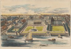 """Old & New: Somerset House. c1880. A hand coloured original antique wood engraving. 8"""" x 6"""". [LDNp10011]"""