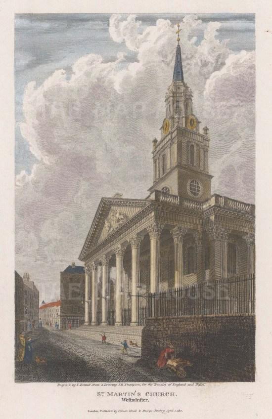 "Vernor, Hood & Sharp: St Martin-in-the-Fields. 1810. A hand coloured original antique steel engraving. 5"" x 7"". [LDNp10075]"