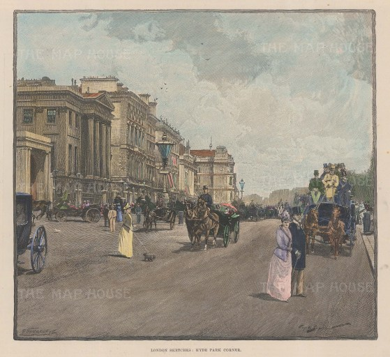 Hyde Park Corner, looking towards Apsley House on Piccadilly.