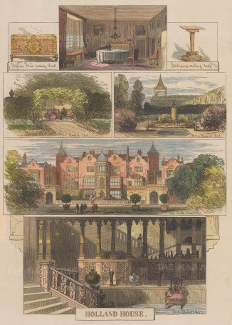 "Graphic Magazine: Holland House. 1872. A hand coloured original antique wood engraving. 8"" x 14"". [LDNp10412]"