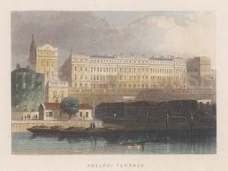 "Tallis: Adelphi Terrace. 1851. A hand coloured original antique steel engraving. 4"" x 3"". [LDNp10631]"