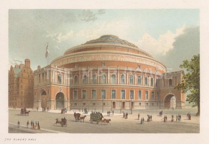 """Nelson: Royal Albert Hall. 1889. An original antique chromolithograph. 5"""" x 4"""". [LDNp10729]"""
