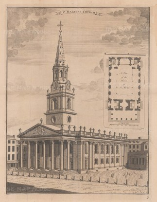 """Stow: St Martin-in-the-Fields. c1755. An original antique copper engraving. 14"""" x 18"""". [LDNp7565]"""