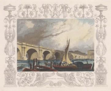 "Tombleson: Waterloo Bridge. 1845. A hand coloured original antique steel engraving. 9"" x 8"". [LDNp8108]"