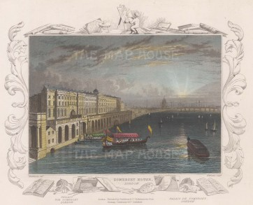 """Tombleson: Somerset House. 1845. A hand coloured original antique steel engraving. 8"""" x 6"""". [LDNp8351]"""