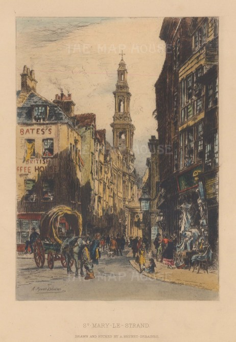 """Brunet-Debaines: St. Mary-Le-Strand. 1882. A hand coloured original antique etching. 6"""" x 9"""". [LDNp9235]"""
