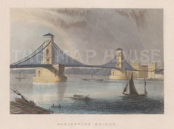 "Tallis: Hungerford Bridge. 1851. A hand coloured original antique steel engraving. 4"" x 3"". [LDNp9896]"
