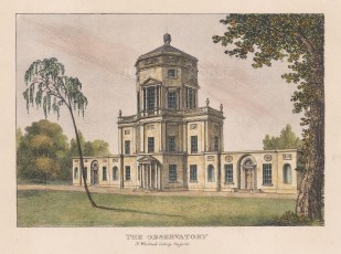 """Whittock: Observatory. 1850. A hand coloured original antique lithograph. 8"""" x 6"""". [OXONp321]"""