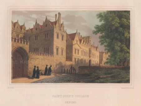 "Hesse: St John's College. 1860. An original colour antique lithograph. 13"" x 10"". [OXONp739]"