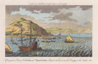 Cocos Island (Tafahi) and Traitors' Island (Niutoputapu). View of the skirmish bewtween the Dutch and islanders. After the 1616 engraving of the voyage of Schouten and Le Maire.