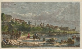 """Illustrated London News: Buenos Aires, Argentina. 1865. A hand coloured original antique wood engraving. 14"""" x 10"""". [SAMp1414]"""