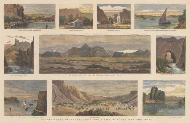 Khyber Pass: Panoramic view from Murree with key. With nine views of the Bugti Hills and landing stages on the Indus.