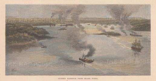 """Picturesque Australia: Sydney Harbour. 1888. A hand coloured original antique wood engraving. 10"""" x 5"""". [AUSp769]"""