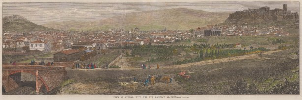 """Illustrated London News: Athens. 1869. A hand coloured original antique wood engraving. 20"""" x 7"""". [GRCp907]"""